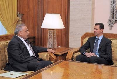 Adel Abdel Mahdi, envoyé spécial irakien, et Bachar al-Assad
