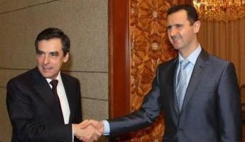 Le président syrien Bachar al-Assad et le Premier ministre français François Fillon à Damas le 19 février 2010
