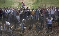 Manifestants palestiniens à la frontière israélo-palestinienne