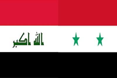 Les drapeaux irakien et syrien