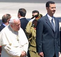 Jean-Paul-II-et-le-president-Bachar-al-Assad (mai 2001)