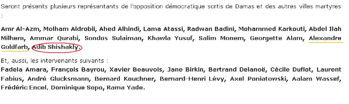 Listes noms SOS Syrie appel Adib Shishakli Alexandre Goldfarb