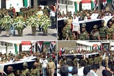 Obsèques de militaires à Homs : adjudant-chef Khalil Ali Khaddour, adjudant-chef Nadim Mohammar Khaddour, sergent-chef Bachar Abdel Obeid, soldat Yahia Kanaan al-Chimali, conscrit Samer Ahmad Ibrahim, policier Hani Kheirallah al-Chimali.