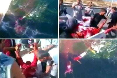 4 images signifiantes de la vidéo montrant des extrémistes armés jetant des corps de militaires suppliciés dans la rivière Oronte
