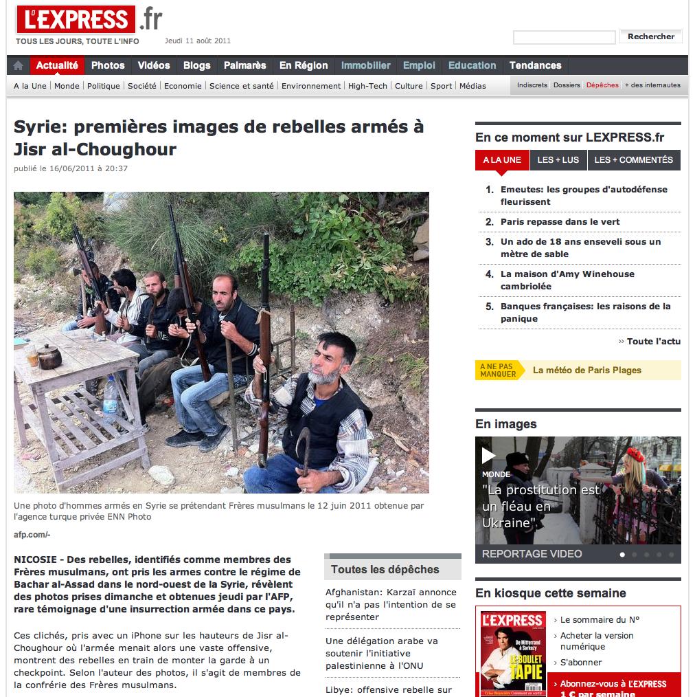 Capture d'écran L'Express montre des Frères musulmans armés