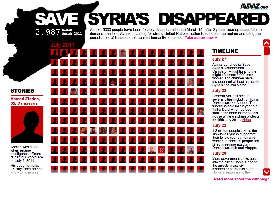 Capture d'écran du site avaaz.org comptabilisant les disparus en Syrie