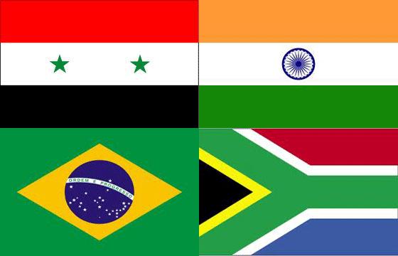 Drapeaux Syrie Inde Brésil Afrique du Sud