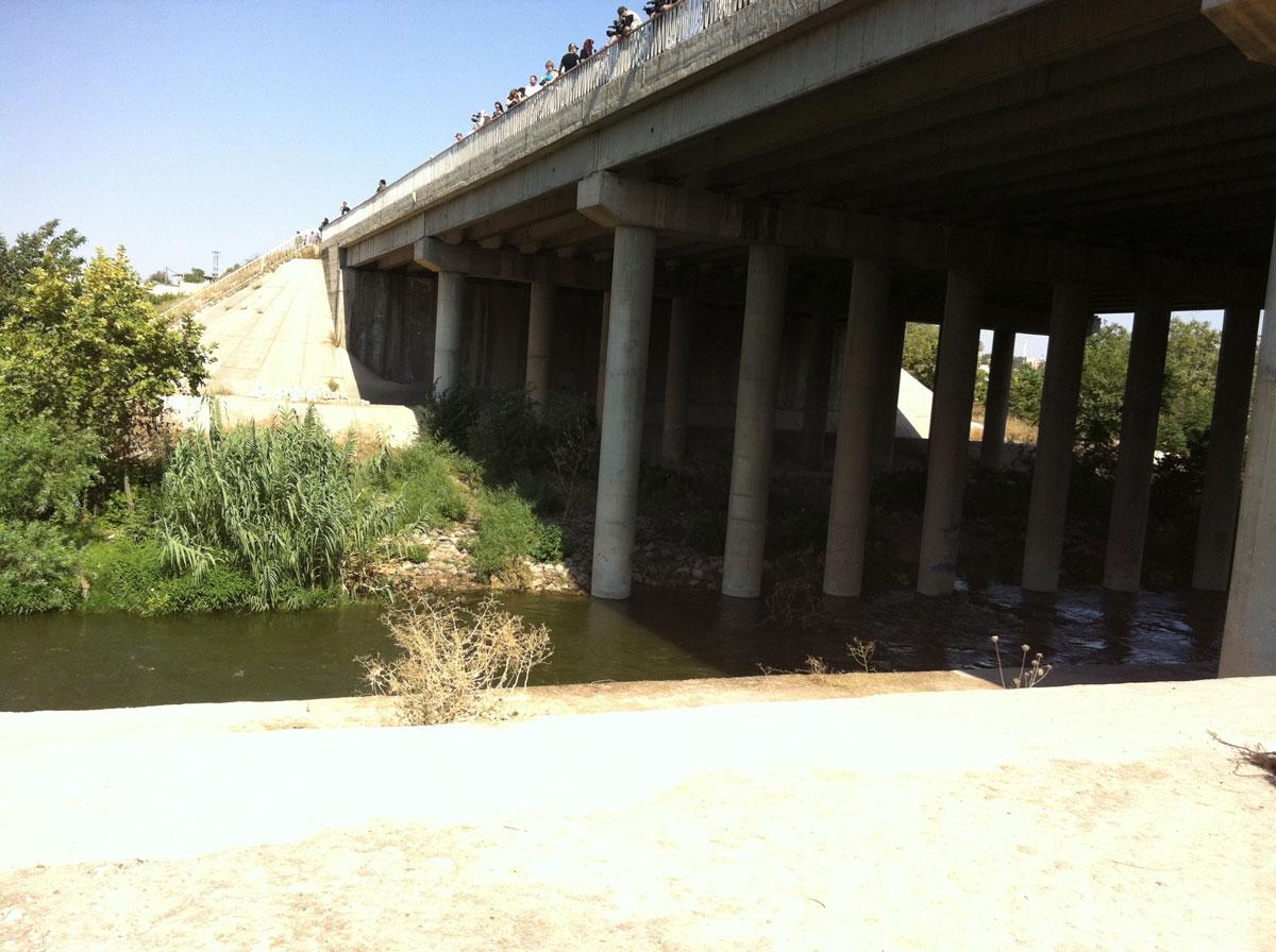 Les délégations sur le tristement célèbre pont de Hama, sur l'Oronte