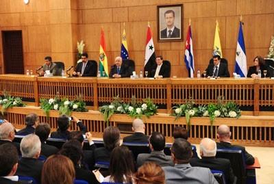 Walid al-Mouallem et les diplomates latino-américains, le 9 octobre à Damas