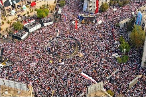Rassemblement de partisans d'al-Assad le 12 octobre 2011 à Damas
