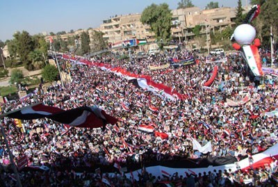 Manifestation en soutien à Bachar al-Assad à Deir Ezzor, le 1er novembre