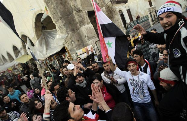 Jeunes partisans de Bachar, Damas, le 10 janvier