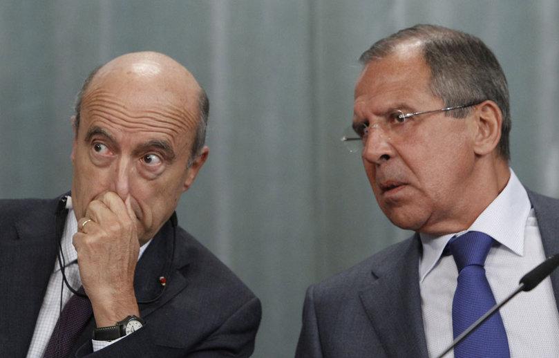 """Juppé et Lavrov en septembre 2011 : le premier n'a toujours pas convaincu le second de l'excellence de ses """"solutions"""", ni surtout de la pureté de ses intentions, vis-à-vis de la Syrie"""