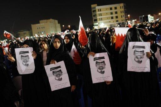 Manifestants chiites à Muqsha (ouest de Manama),le 24 décembre 2011