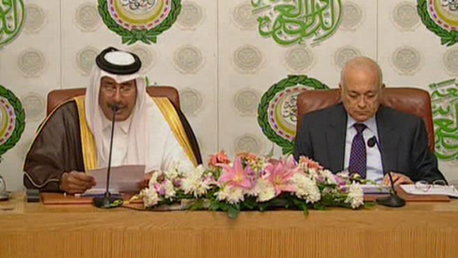 Cheikh Hamad ben Jassem al-Thani, voix de son maître officiel l'émir du Qatar et surtout de son maître effectif, le gouvernement américain
