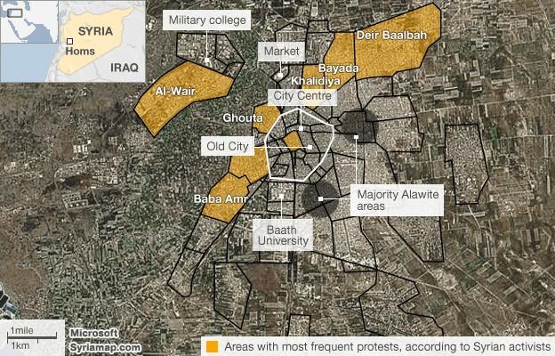... avec celle établie par un média anglo-saxon : L'essentiel des insurgés se concentre à Bab Amr et dans le quartier voisin d'Inchaat... 10 à 15% de la ville...