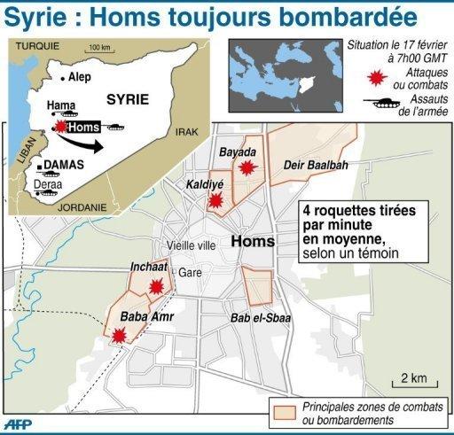 Une carte du Homs insurgé dressée par l'AFP, à comparer...