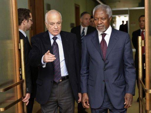 Kofi Annan et Nabil al-Arabi, de la Ligue arabe : la déclaration onusienne ne pourra rien imposer à la Syrie, et n'aura guère d'effets contraignants sur le CNS et les bandes armées.