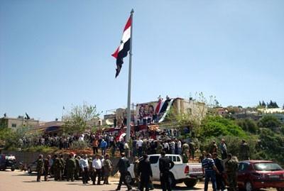 """Le """"mât des martyrs"""" à Banyas"""