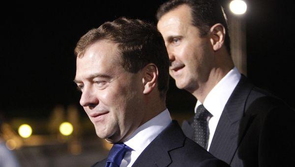 Medvedev et Bachar à Damas (mai 2010) : apparemment le couple fonctionne toujours